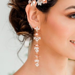 Rose gold Dahlia Flower Dangle Bridal Earrings from close