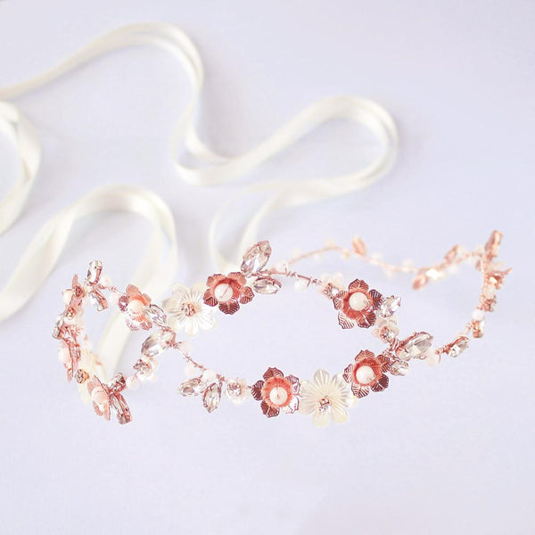 Rose gold Dahlia Infinity Floral Bridal Crown on grey