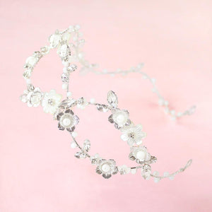 Silver Dahlia Infinity Floral Bridal Crown on pink