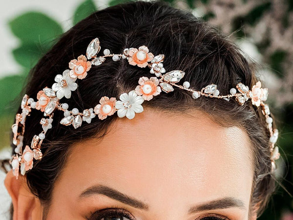 Rose gold Dahlia Infinity Floral Bridal Crown from front