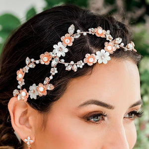 Rose gold Dahlia Infinity Floral Bridal Crown from side