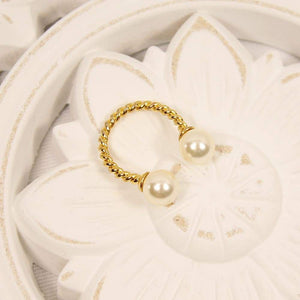 Ivory with Gold Davina Pearl Rope Ring on white