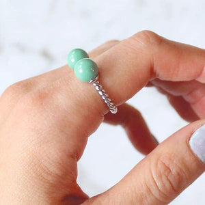 Turquoise with Silver Davina Pearl Rope Ring on finger