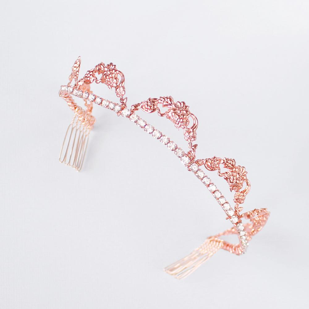 Rose gold Delphine Crystal Bridal Tiara on grey