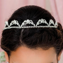 Load image into Gallery viewer, Silver Delphine Crystal Bridal Tiara from front