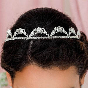 Silver Delphine Crystal Bridal Tiara from front