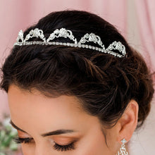 Load image into Gallery viewer, Silver Delphine Crystal Bridal Tiara from side