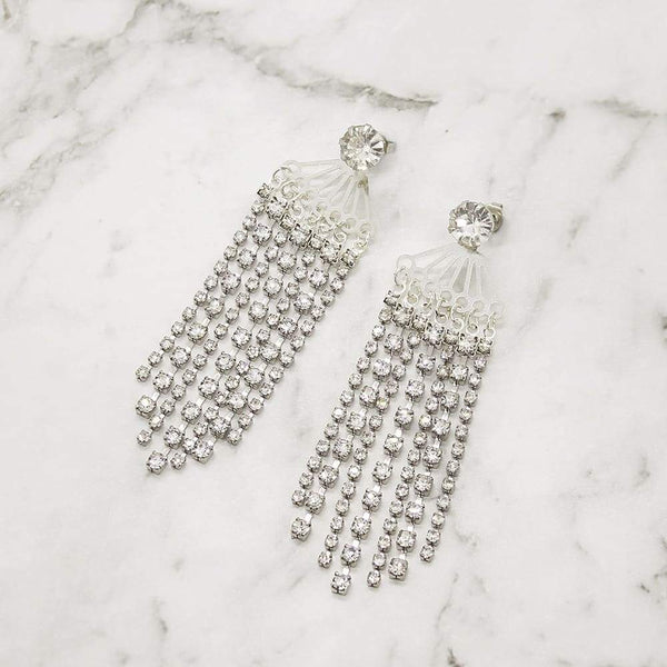 Deva Crystal Chandelier Earrings on silver