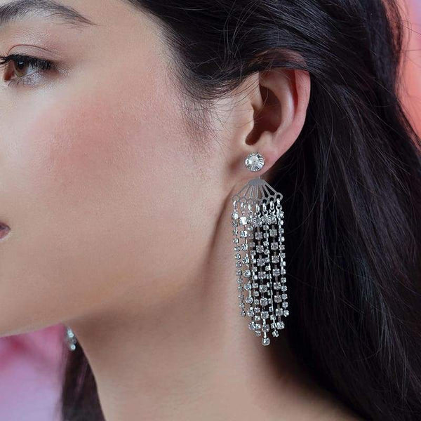 Deva Crystal Chandelier Earrings on left ear