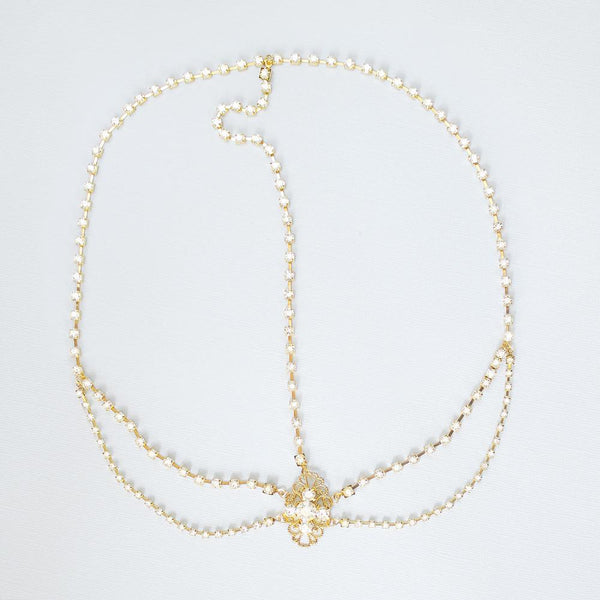 Gold Eliza Bridal Head Chain on grey