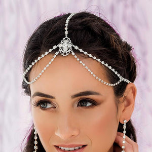 Silver Eliza Bridal Head Chain from front