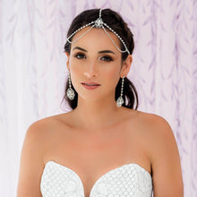 Load image into Gallery viewer, Silver Eliza Bridal Head Chain from far