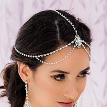 Load image into Gallery viewer, Silver Eliza Bridal Head Chain from side