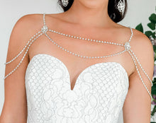 Load image into Gallery viewer, Silver Eliza Bridal Shoulder Necklace from front