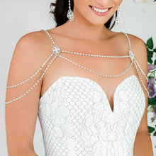 Load image into Gallery viewer, Silver Eliza Bridal Shoulder Necklace from side