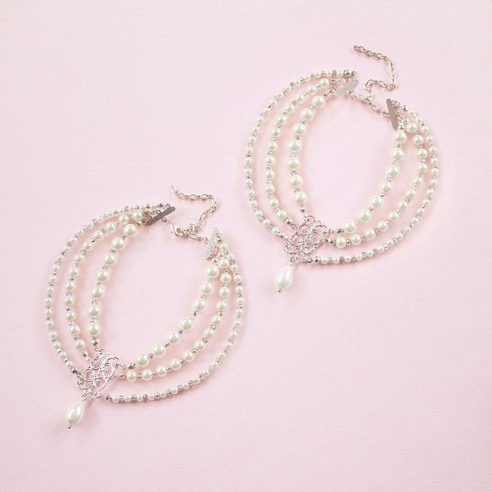 Silver Ember Bohemian Pearl Anklets on pink