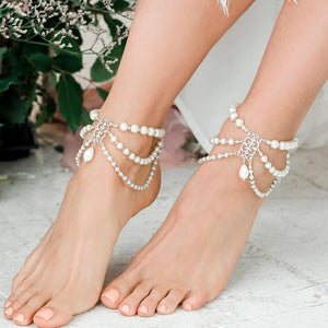 Silver Ember Bohemian Pearl Anklets from front