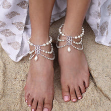Load image into Gallery viewer, Silver Ember Bohemian Pearl Anklets on sand
