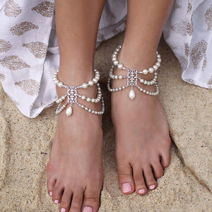 Silver Ember Bohemian Pearl Anklets on sand