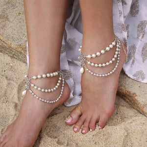 Silver Ember Bohemian Pearl Anklets from side