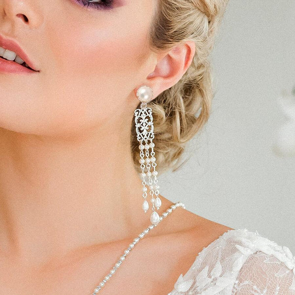 Silver Ember Bridal Pearl Earrings from front