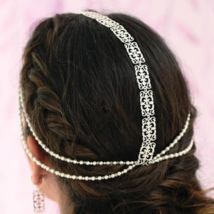 Silver Ember Boho Bridal Headpiece from back