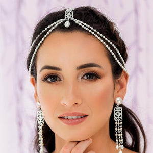 Silver Ember Boho Bridal Headpiece from front