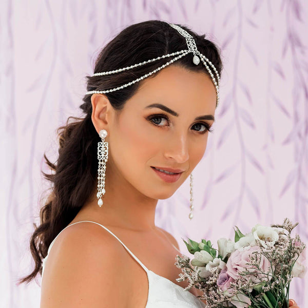 Silver Ember Boho Bridal Headpiece from side