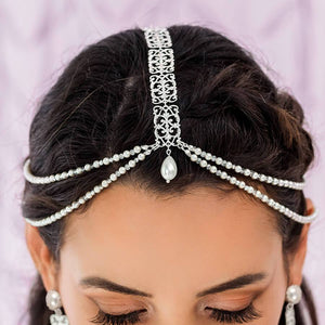 Silver Ember Boho Bridal Headpiece from top