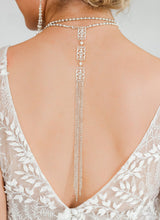 Load image into Gallery viewer, Silver Ember Bridal Backdrop Necklace on back
