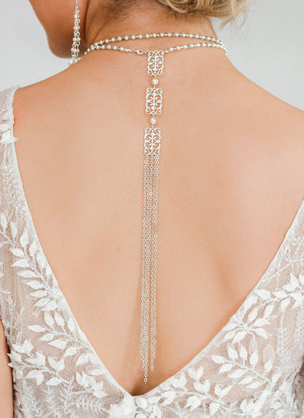 Silver Ember Bridal Backdrop Necklace on back