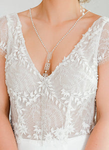 Silver Ember Bridal Backdrop Necklace on front