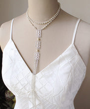 Load image into Gallery viewer, Silver Ember Bridal Backdrop Necklace on mannequin