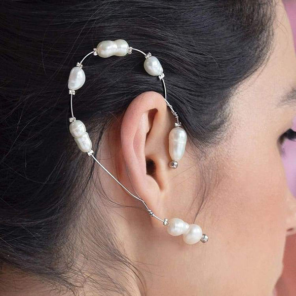 Silver Fallon Freshwater Pearl Ear Climber on right ear