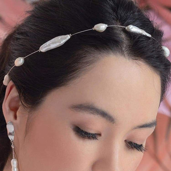 Silver Fallon Freshwater Pearl Hair Halo from side