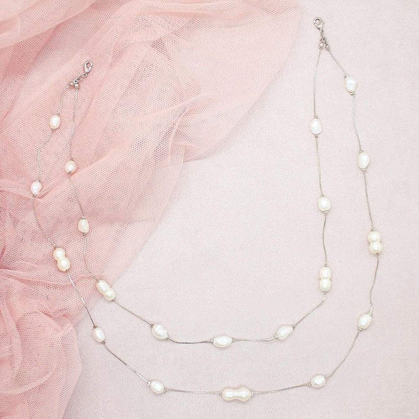 Silver Fallon Freshwater Pearl Back Necklace on pink