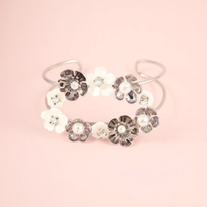 Silver Felicity Floral Cuff Bracelet on pink
