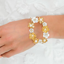 Load image into Gallery viewer, Gold Felicity Floral Cuff Bracelet from close