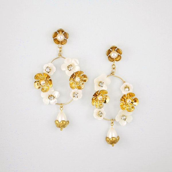 Gold Felicity Floral Bridal Earrings on grey