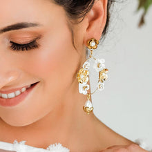 Load image into Gallery viewer, Gold Felicity Floral Bridal Earrings from front