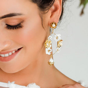 Gold Felicity Floral Bridal Earrings from front