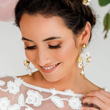 Load image into Gallery viewer, Gold Felicity Floral Bridal Earrings from far