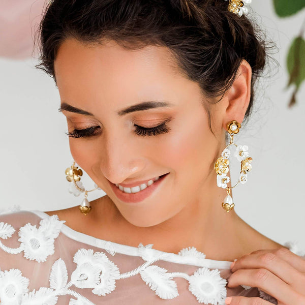 Gold Felicity Floral Bridal Earrings from far