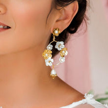 Load image into Gallery viewer, Gold Felicity Floral Bridal Earrings from side