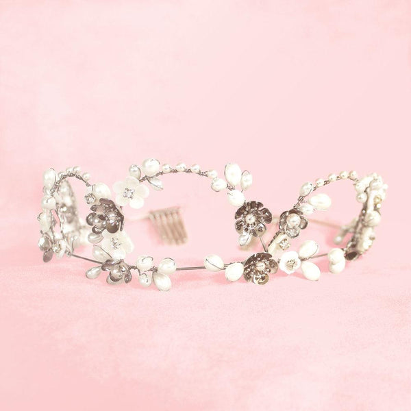 Silver Felicity Bridal Flower Crown on pink
