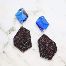 Load image into Gallery viewer, Blue Galaxy Geometric Earrings