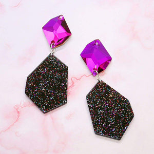 Pink Galaxy Geometric Earrings