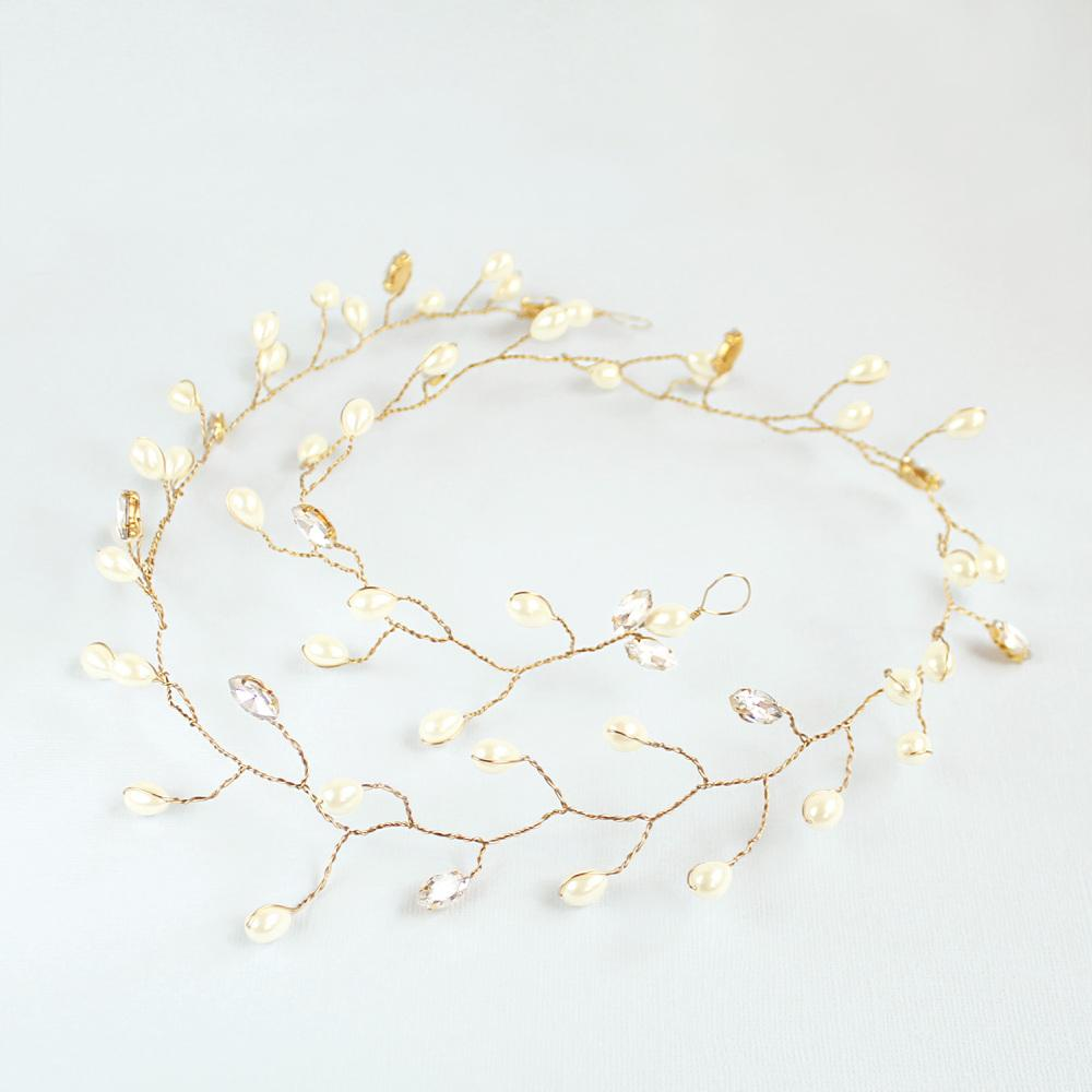 Gold Ivy Bridal Hair Vine Headpiece on grey