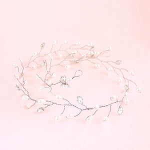 Silver Ivy Bridal Hair Vine Headpiece on pink