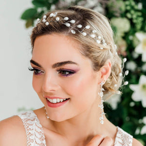 Silver Ivy Bridal Hair Vine Headpiece from front